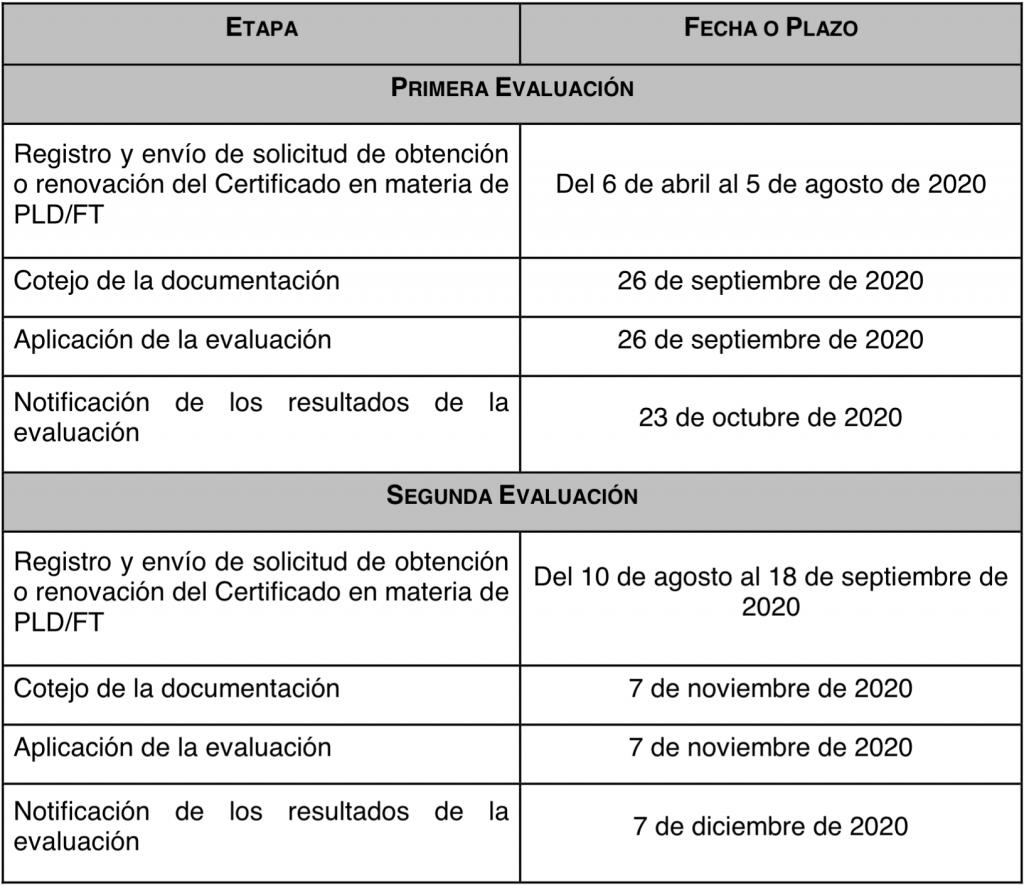 Etapa - Fecha Plazo Cronograma 2020
